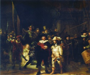 レンブラント「夜警」1642年 油彩・キャンバス、363×437cm(アムステルダム国立美術館)