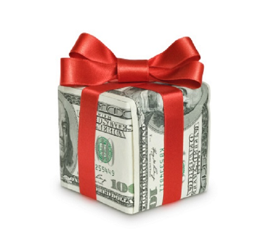 Money gift box with red ribbon
